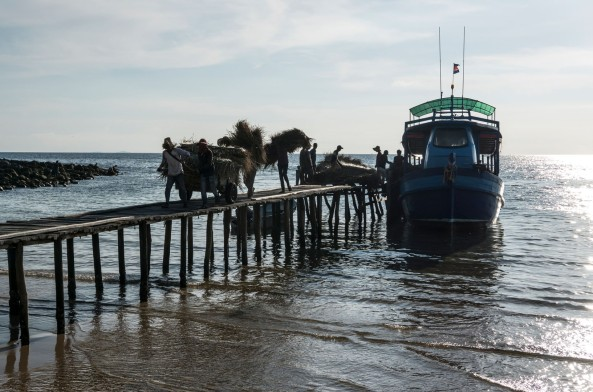 Unloading the daily supply boat