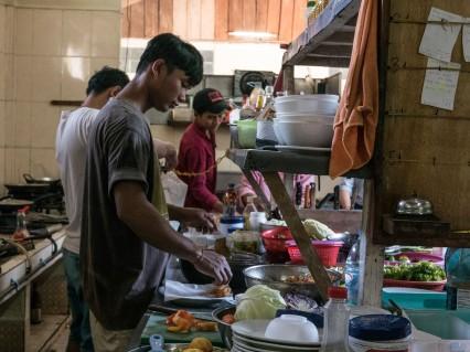 Busy kitchen prep