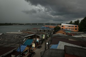 Watching a weather front roll in from our roof terrace