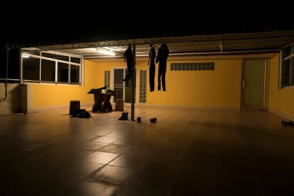Our roof terrace at night with all our dive gear drying.