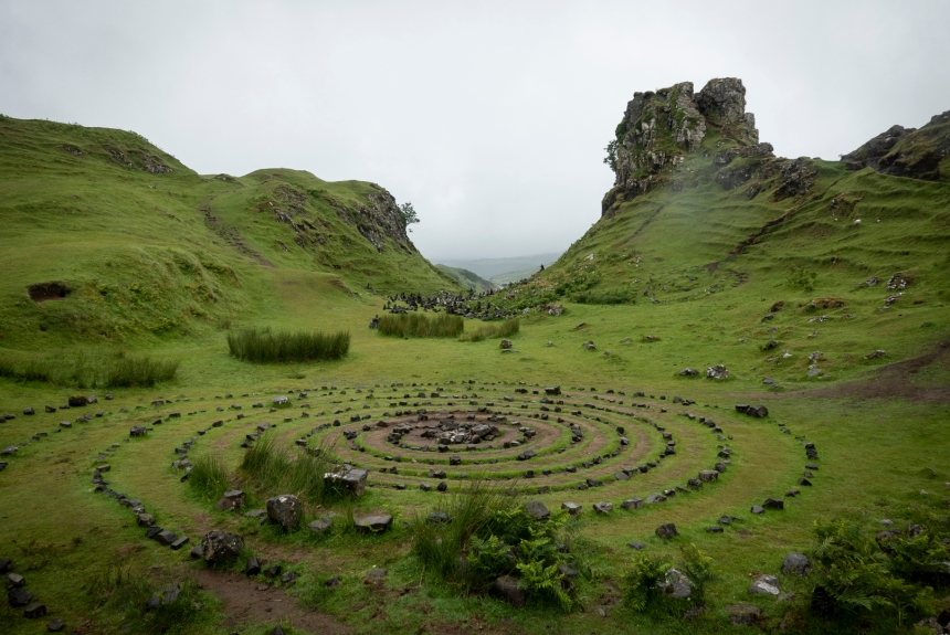 The stony labyrinth at the magical Fairy Glen.