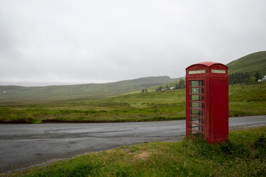 Lonely phone box on the road to Duntulm from Staffin.